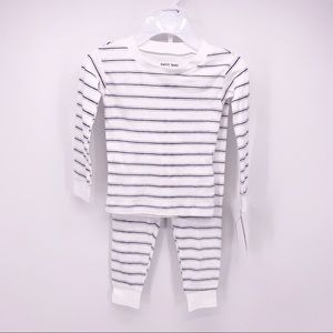 Petit Lem Baby 12M White Blue Stripe Sleepwear Set